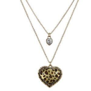 Betsy Johnson layered heart leopard necklace EUC